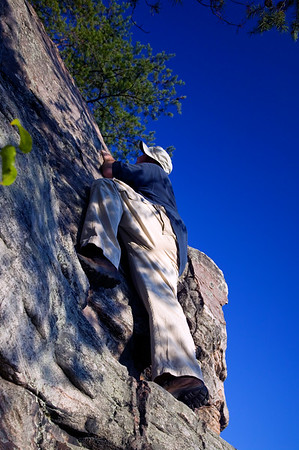 Steve scaling a monster peak with no gear!